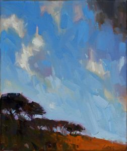 Gary Long, Tree Line, oil on canvas, h. 30.5 x w. 30.5 cm, £580 - Exhibition at Tremenheere Gallery, Cornwall