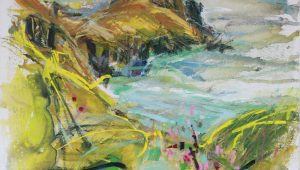 Ges Wilson, Gurnard's Dry Summer, acrylic on canvas, h. 65 x w. 65 cm, £900 - Exhibition at Tremenheere Gallery, Cornwall