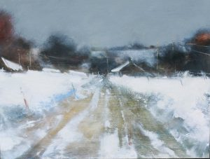 Hannah Woodman, Farm over the Fields, Cornish Winter, oil on board, h. 30 x. 40 cm, £1550 - Exhibition at Tremenheere Gallery, Cornwall