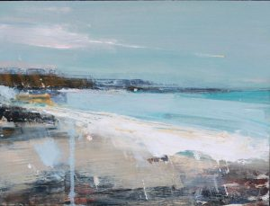 Hannah Woodman, Spring Light, Gwithan Beach, oil on board, h. 30 x w. 40 cm, £1,550 - Exhibition at Tremenheere Gallery, Cornwall
