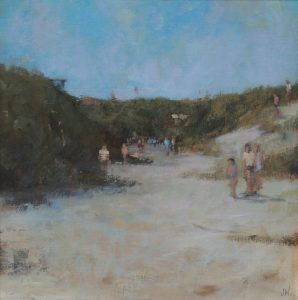 Jason Walker, Crantock Dunes, oil on board, h. 30 x w. 30 cm, £600 - Exhibition at Tremenheere Gallery, Cornwall