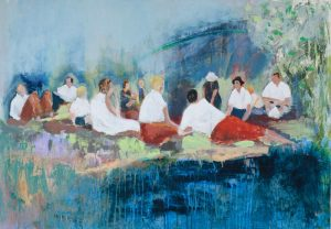 Nickie Carlyon, The Last Picnic, acrylic on canvas, h. 70 x w. 100 cm, £1500 - Exhibition at Tremenheere Gallery, Cornwall