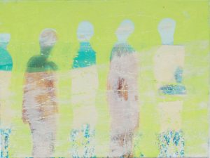 Siobhan Purdy, Hillside People, oil on canvas, h.30 x w. 40 cm - Exhibition at Tremenheere Gallery, Cornwall